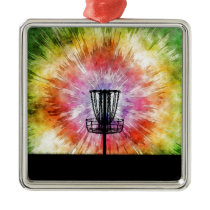 Tie Dye Disc Golf Basket Metal Ornament