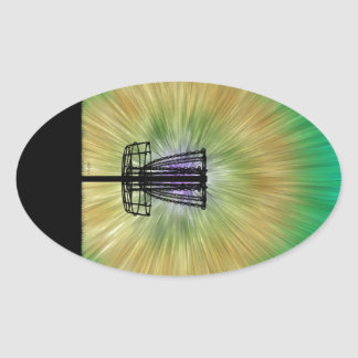 Tie Dye Disc Golf Basket Oval Sticker