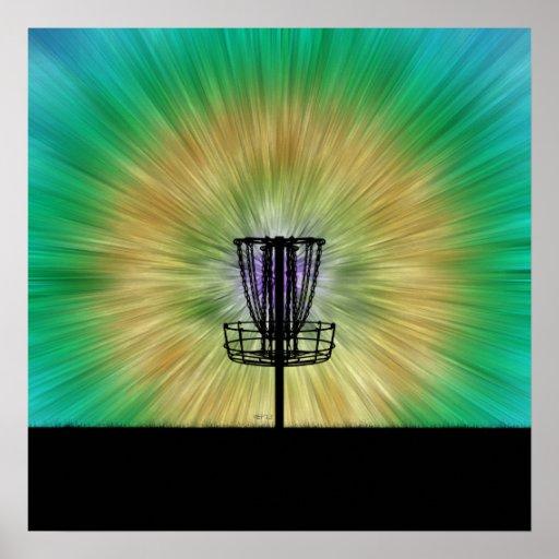 Tie Dye Disc Golf Basket Posters