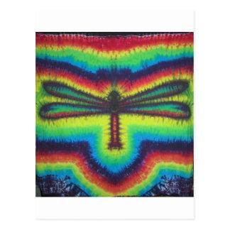 Tie dye dragon fly postcard