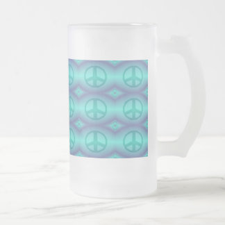 Tie Dye Effect Peace Sign Frosted Glass Beer Mug