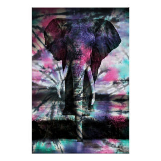 Tie-Dye Elephant Poster
