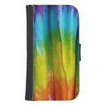 Tie-Dye Fabric Print Galaxy S4 Wallet Cases