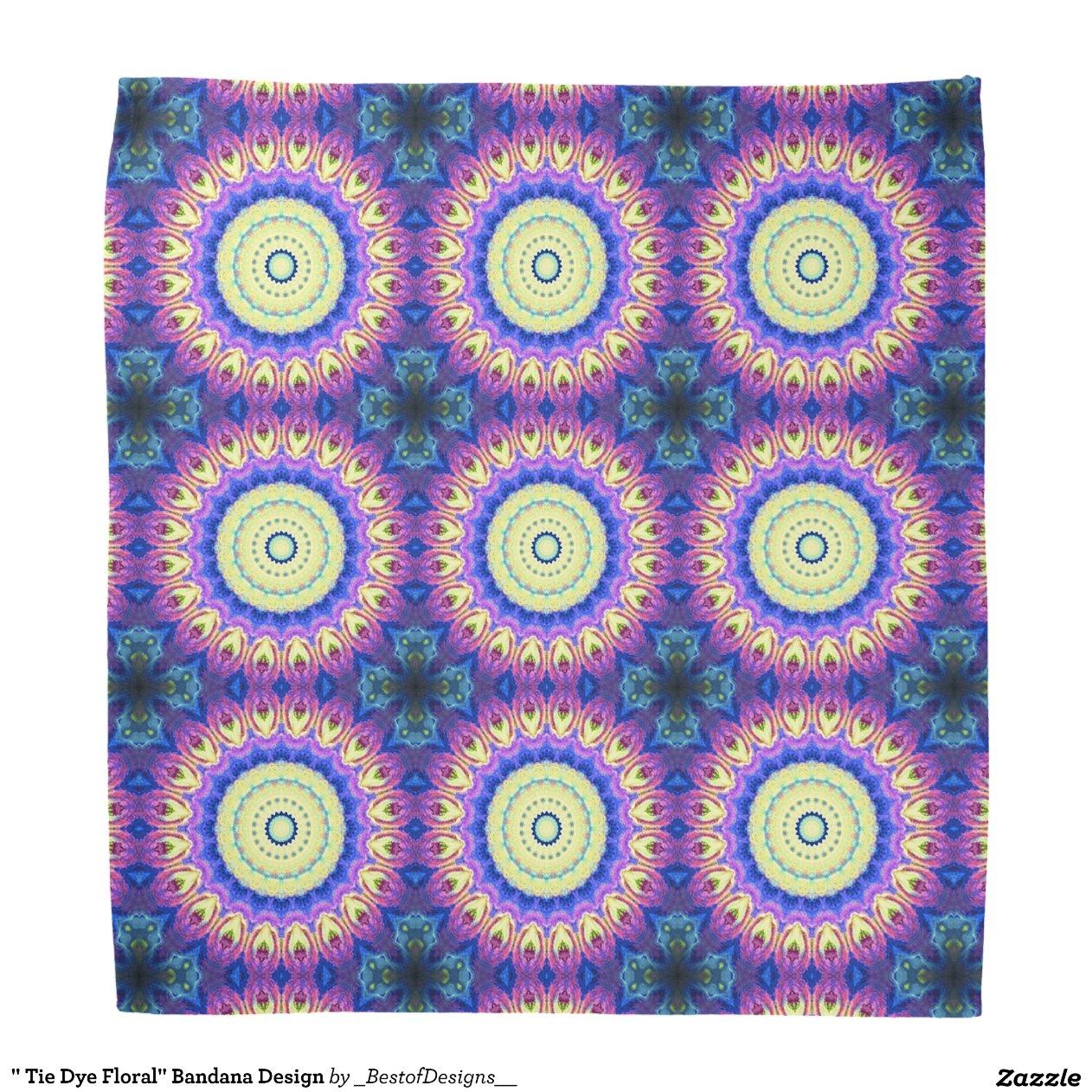tie dye floral bandana design