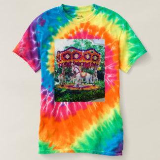 Tie dye flower garden carousel t-shirt