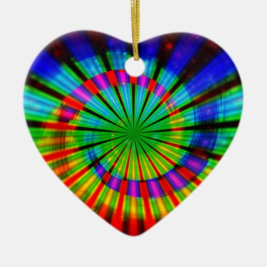 Tie-Dye Groovy Rainbow Ceramic Ornament
