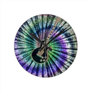 Tie-Dye Guitar Clock