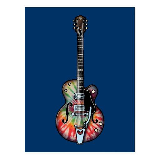 Tie Dye Guitar Post Cards