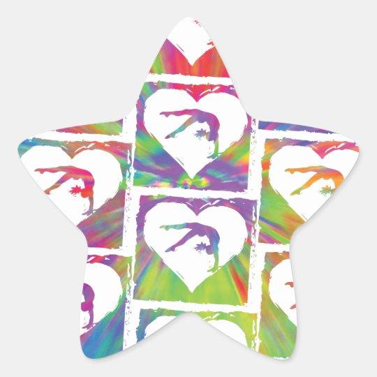 Tie Dye Gymnastics Pattern Star Sticker
