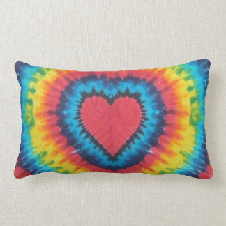 Tie dye heart throw pillow