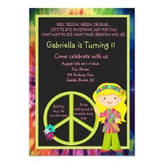 Tie Dye Hippie Girl & Peace Sign Birthday Invite