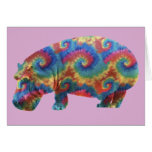 Tie Dye Hippie Hippopotamus Birthday Card