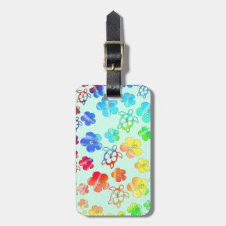 Tie Dye Honu And Hibiscus Bag Tag