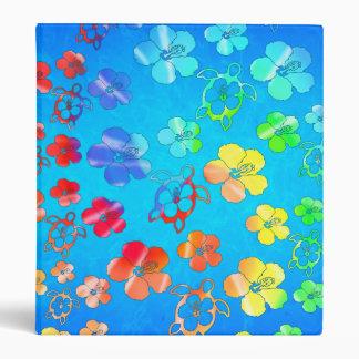 Tie Dye Honu And Hibiscus Vinyl Binder