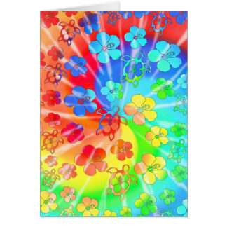 Tie Dye Honu And Hibiscus Greeting Card