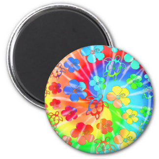 Tie Dye Honu And Hibiscus Refrigerator Magnet