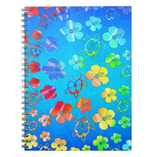Tie Dye Honu And Hibiscus Notebook
