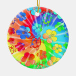 Tie Dye Honu And Hibiscus Double-Sided Ceramic Round Christmas Ornament