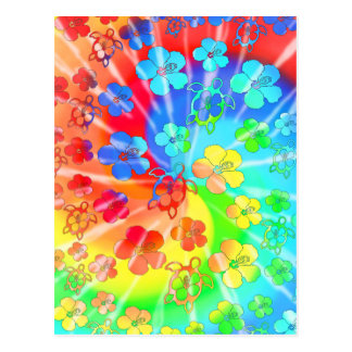 Tie Dye Honu And Hibiscus Postcards