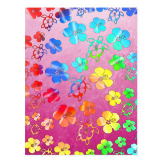 Tie Dye Honu And Hibiscus Post Cards
