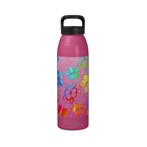 Tie Dye Honu And Hibiscus Reusable Water Bottle