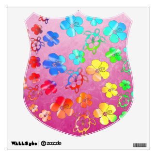 Tie Dye Honu And Hibiscus Wall Decal