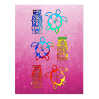 Tie Dye Honu And Tiki Mask Post Card
