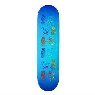 Tie Dye Honu And Tiki Mask Skateboard Deck