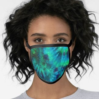 Tie  Dye in Blue & Green All-Over Print Face Mask