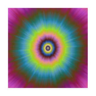 Tie-Dye in Blue Pink Yellow   Wood Canvas