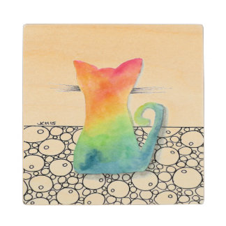 Tie Dye Kitten Wooden Coaster