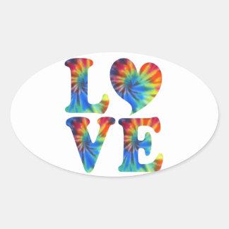 Tie Dye LOVE Oval Sticker