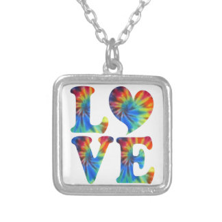 Tie Dye LOVE Silver Plated Necklace