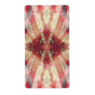 Tie Dye Maroon Radial Rays Spot Pattern Label