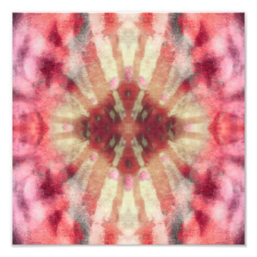 Tie Dye Maroon Radial Rays Spot Pattern Art Photo
