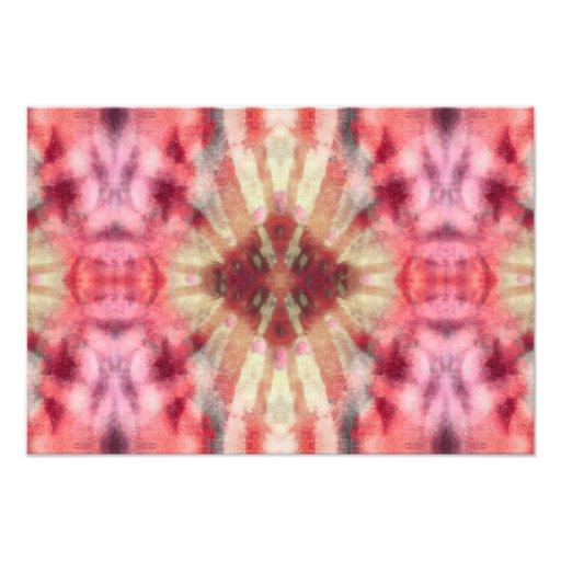 Tie Dye Maroon Radial Rays Spot Pattern Photo Art