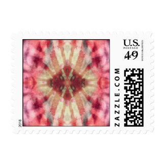 Tie Dye Maroon Radial Rays Spot Pattern Postage Stamps