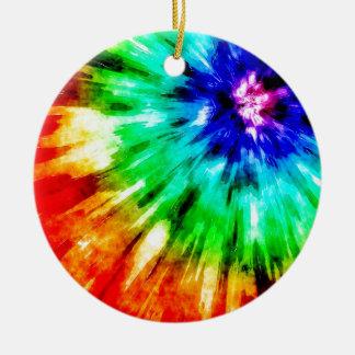 Tie Dye Meets Watercolor Ceramic Ornament