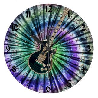 Tie-Dye Musicians Electric Guitar Clock + Numbers