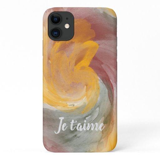 Tie-Dye Orange Green Painterly Watercolor in Love iPhone 11 Case