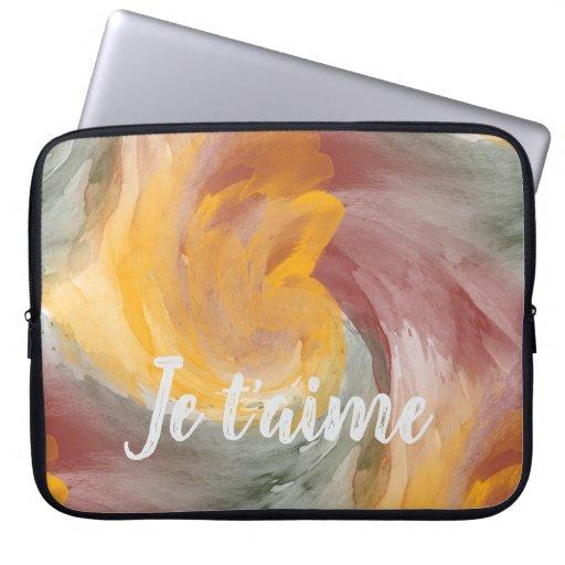 Tie-Dye Orange Green Painterly Watercolor in Love Laptop Sleeve
