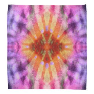 Tie Dye Orange Purple Radial Rays Spot Pattern Bandana