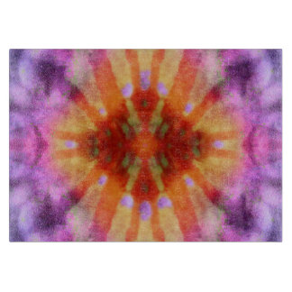Tie Dye Orange Purple Radial Rays Spot Pattern Cutting Board