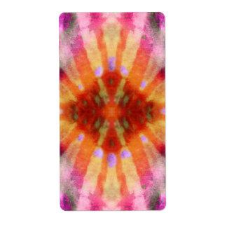 Tie Dye Orange Purple Radial Rays Spot Pattern Label