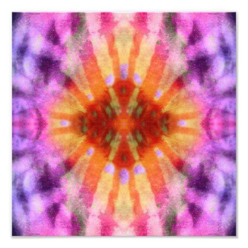 Tie Dye Orange Purple Radial Rays Spot Pattern Photographic Print