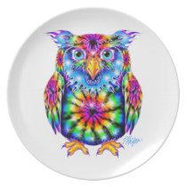 Tie Dye Owl Plate