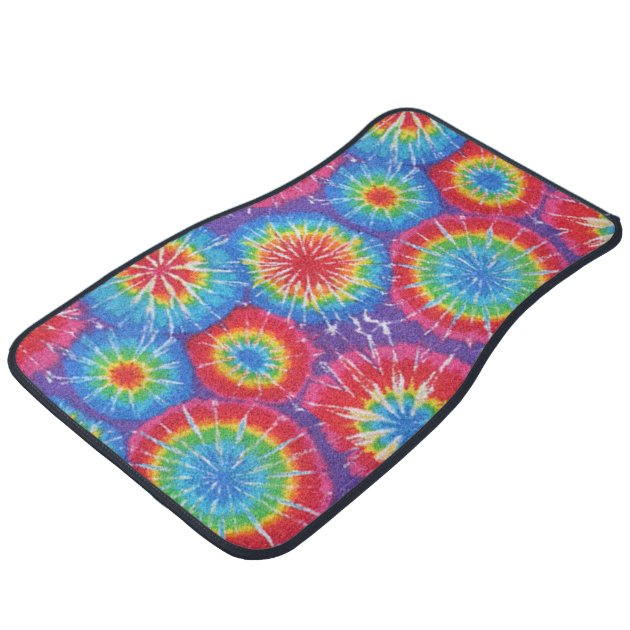 Tie Dye Pattern Hippies 70 S Colorful Car Decor Car Floor