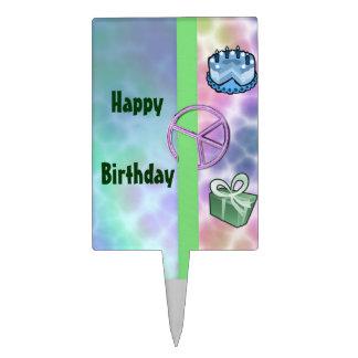 Tie Dye Peace Birthday Cake Topper