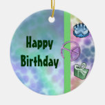 Tie Dye Peace Birthday Double-Sided Ceramic Round Christmas Ornament