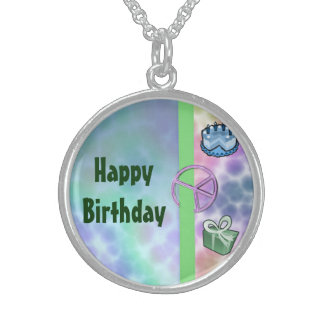 Tie Dye Peace Birthday Sterling Silver Necklace
